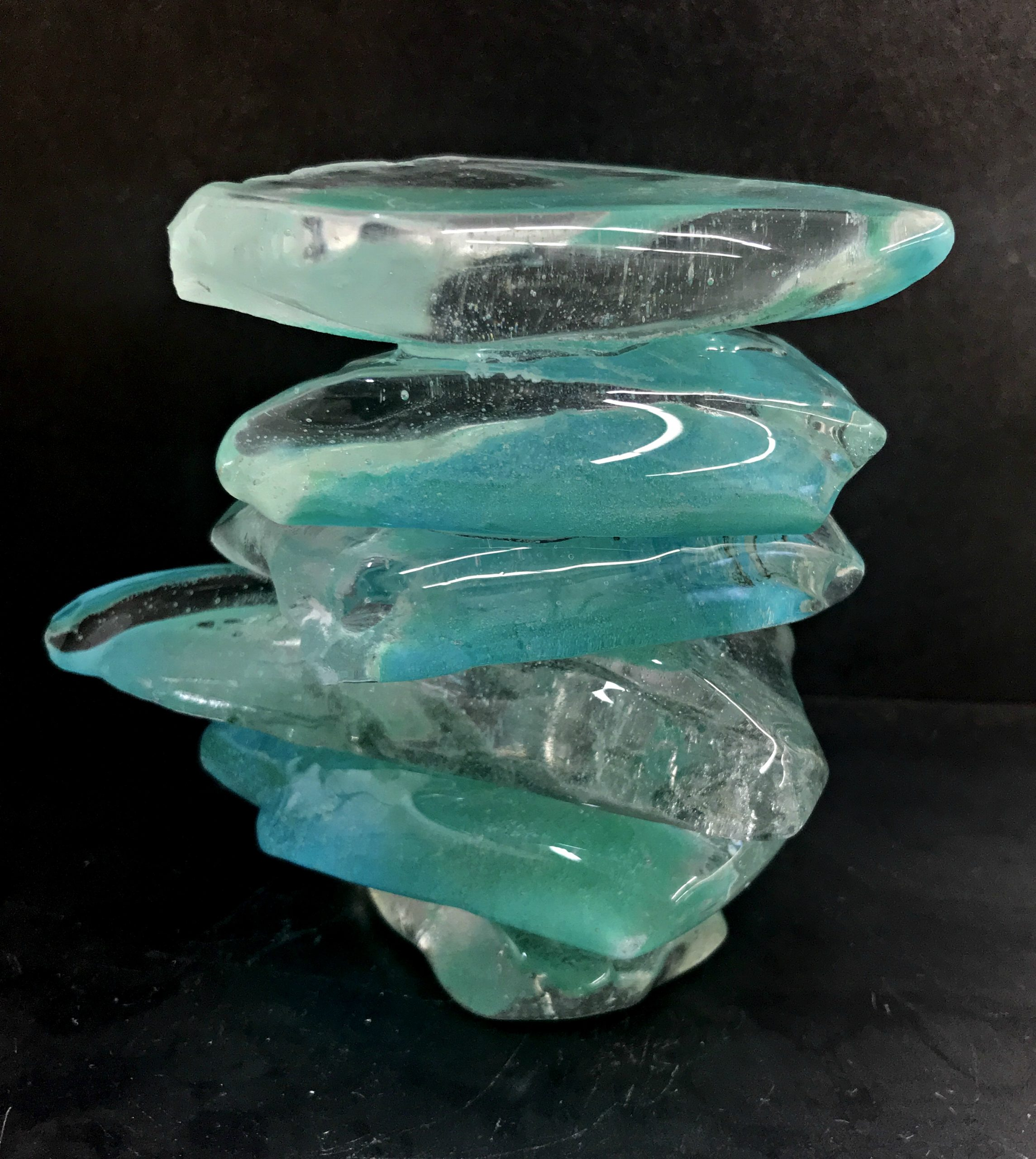 Rocky Mountain Cairn 13, cast glass sculpture by Heather Cuell   Effusion Art Gallery + Cast Glass Studio, Invermere BC