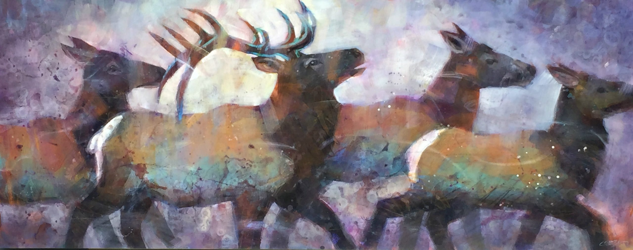 Herd Energy, acrylic elk painting by Connie Geerts | Effusion Art Gallery + Cast Glass Studio, Invermere BC
