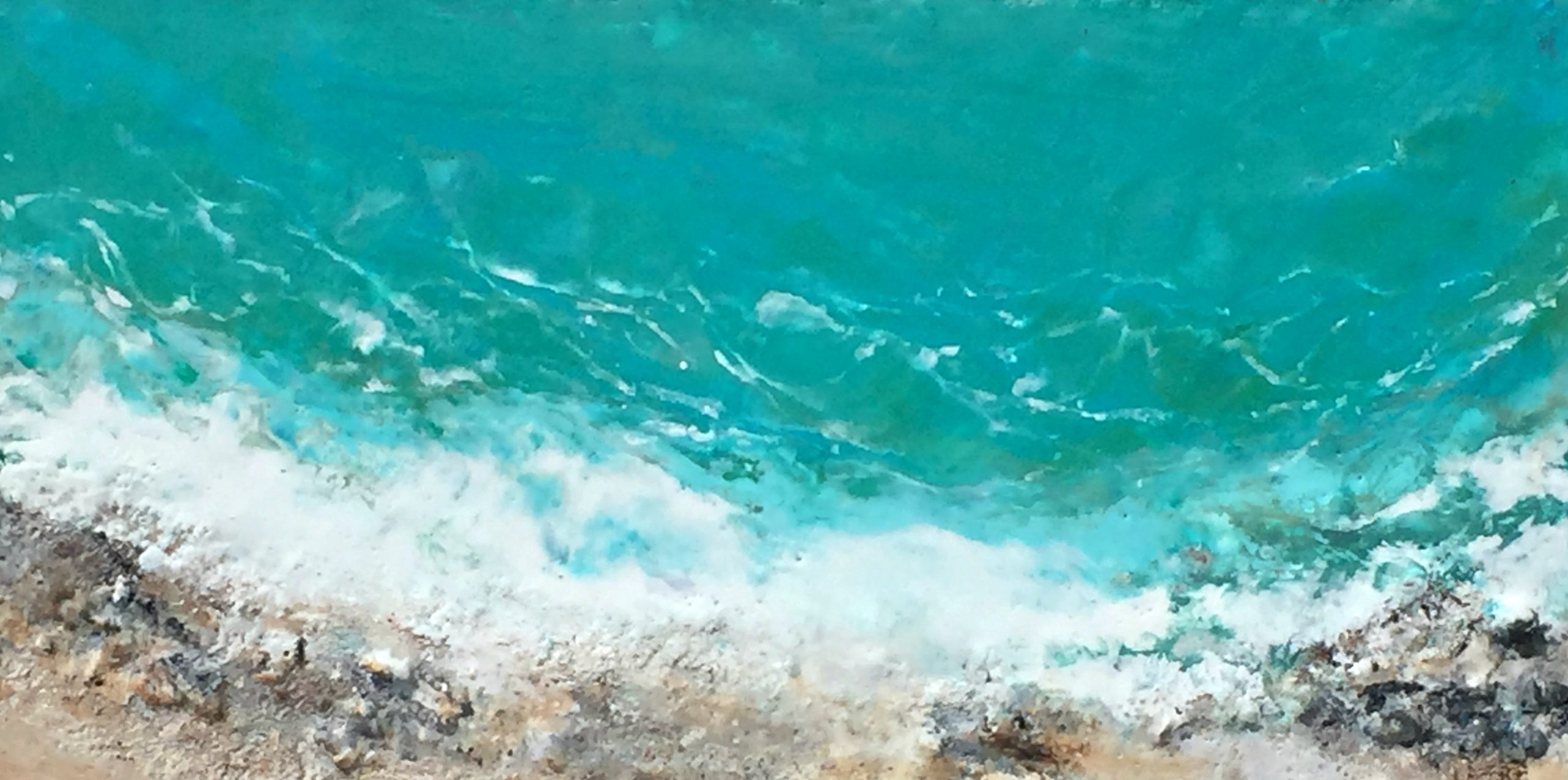 Seas the Day, encaustic seascape painting by Lee Anne LaForge | Effusion Art Gallery + Cast Glass Studio, Invermere BC