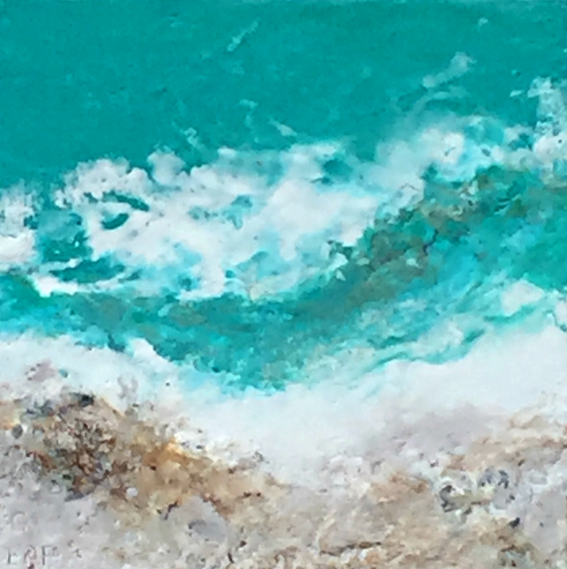 Warm Sea Breeze 1, encaustic ocean painting by Lee Anne LaForge | Effusion Art Gallery + Cast Glass Studio, Invermere BC
