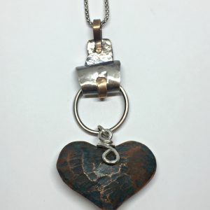Old Fashioned, one of a kind heart necklace by Karyn Chopik | Effusion Art Gallery + Cast Glass Studio, Invermere BC