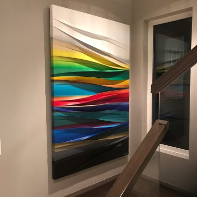 Simple Harmonie, mixed media painting by Melanie Giguere, installed   Effusion Art Gallery + Cast Glass Studio, Invermere BC