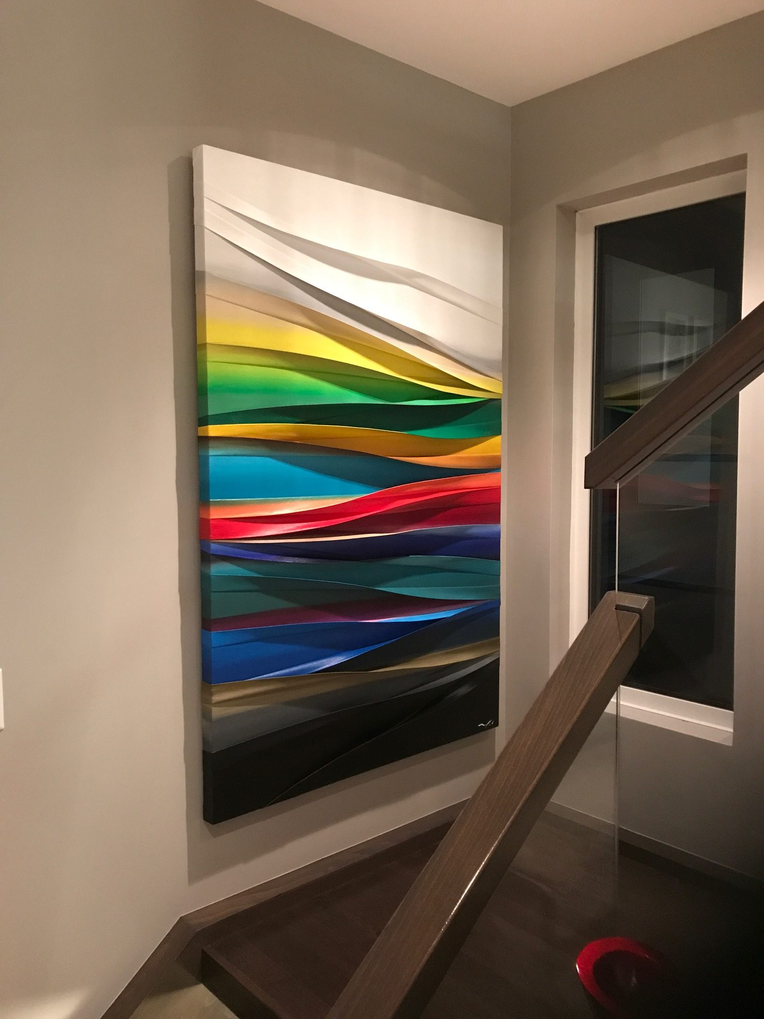 Simple Harmonie, mixed media painting by Melanie Giguere, installed | Effusion Art Gallery + Cast Glass Studio, Invermere BC