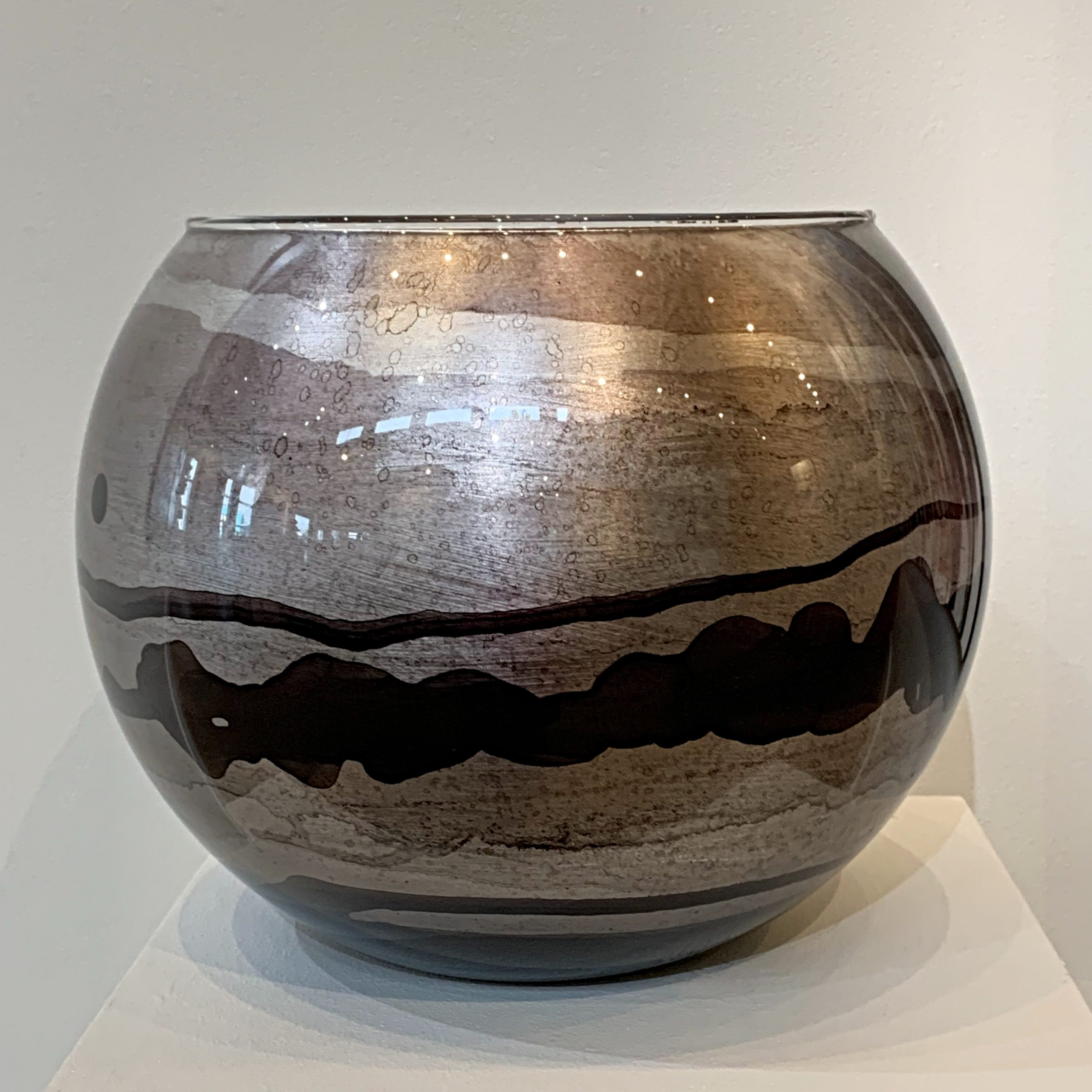 Large silver bubble bowl, hand gilded by David Graff   Effusion Art Gallery + Cast Glass Studio, Invermere BC