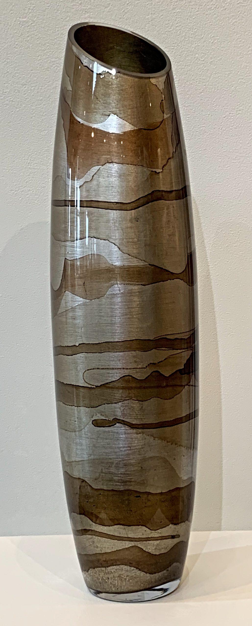 Medium bronze bullet vase, hand gilded by David Graff | Effusion Art Gallery + Cast Glass Studio, Invermere BC