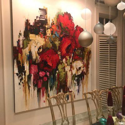 Kimberly Kiel painting, installed   Effusion Art Gallery + Cast Glass Studio, Invermere BC