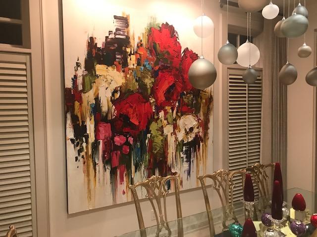 Kimberly Kiel painting, installed | Effusion Art Gallery + Cast Glass Studio, Invermere BC