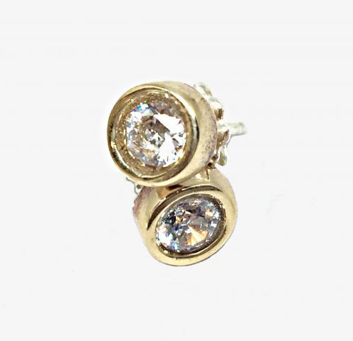 Bronze and CZ stud earrings by Karyn Chopik | Effusion Art Gallery + Cast Glass Studio, Invermere BC