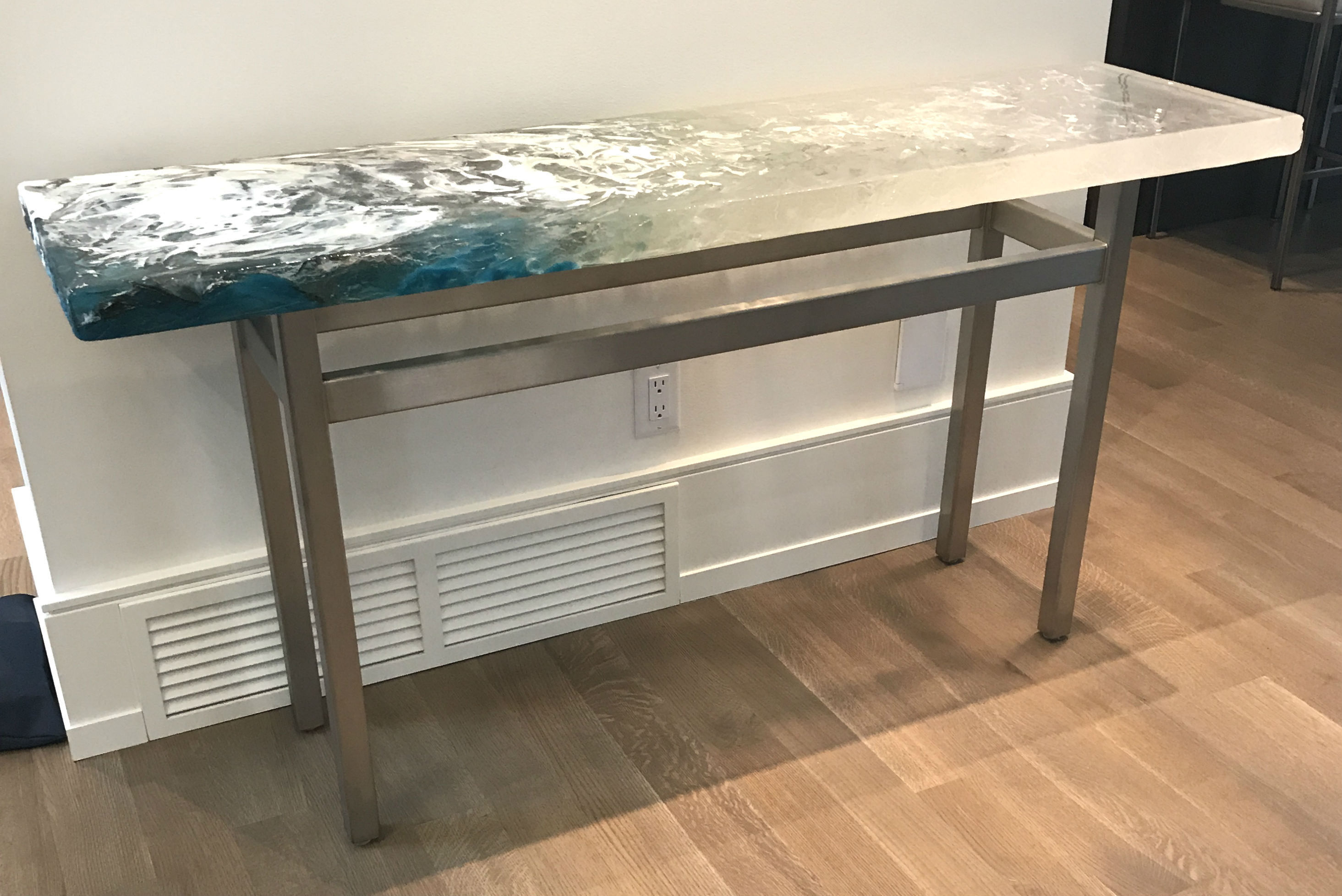 Custom cast glass console table by Heather Cuell