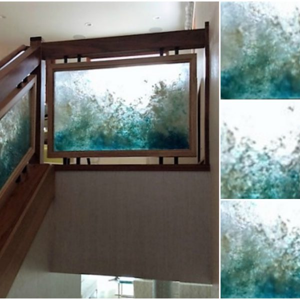 Custom cast glass railings in Maui beach-house by Heather Cuell | Effusion Art Gallery + Cast Glass Studio, Invermere BC