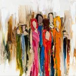 Right About Now, figurative painting by Kimberly Kiel | Effusion Art Gallery + Cast Glass Studio, Invermere BC