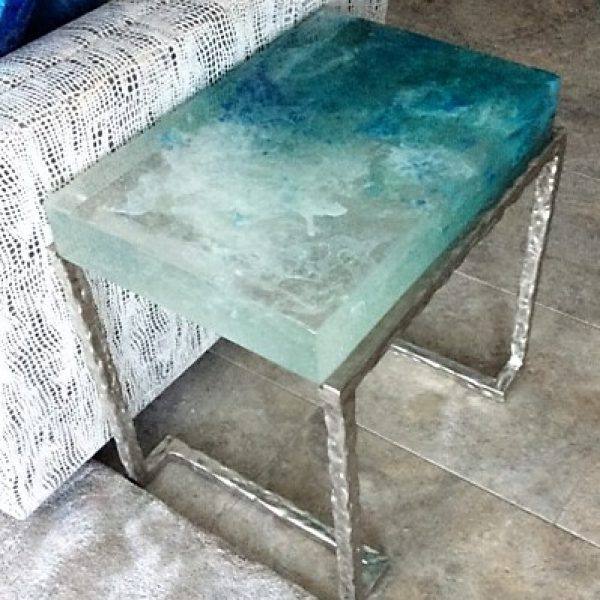 Custom cast glass and white bronze side table - Maui Series, by artist Heather Cuell | Effusion Art Gallery + Cast Glass Studio, Invermere BC
