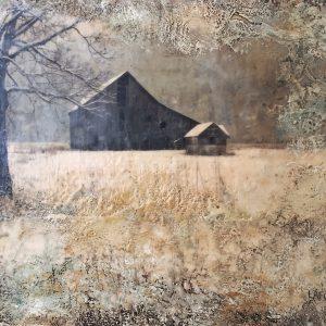 A Quiet Place, encaustic landscape painting by Lee Anne LaForge   Effusion Art Gallery + Cast Glass Studio, Invermere BC