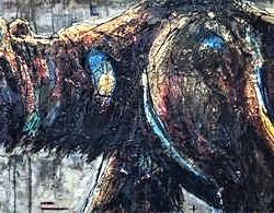 On the Western Front, mixed media grizzly bear painting by David Zimmerman | Effusion Art Gallery + Cast Glass Studio, Invermere BC