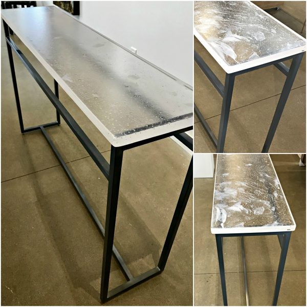 Cast Glass and Matte Charcoal Powder-Coasted Base Console Table by Heather Cuell | Effusion Art Gallery + Cast Glass Studio, Invermere BC