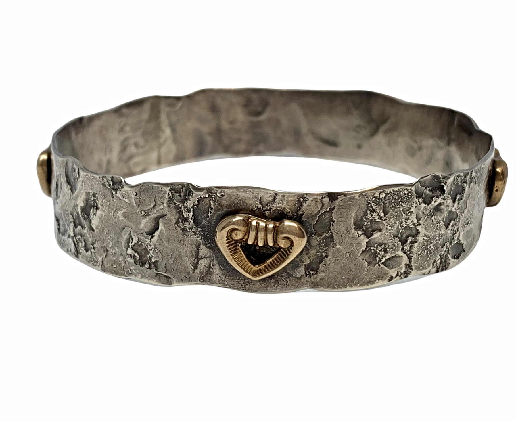 Handmade sterling silver and bronze heart bangle by Karyn Chopik   Effusion Art Gallery + Cast Glass Studio, Invermere BC