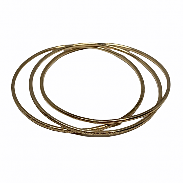 Handmade interlocking 14kt gold-fill bangles by Karyn Chopik   Effusion Art Gallery + Cast Glass Studio, Invermere BC