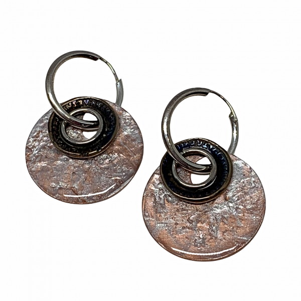 Handmade sterling silver, bronze, and pearlized copper earrings by Karyn Chopik | Effusion Art Gallery + Cast Glass Studio, Invermere BC