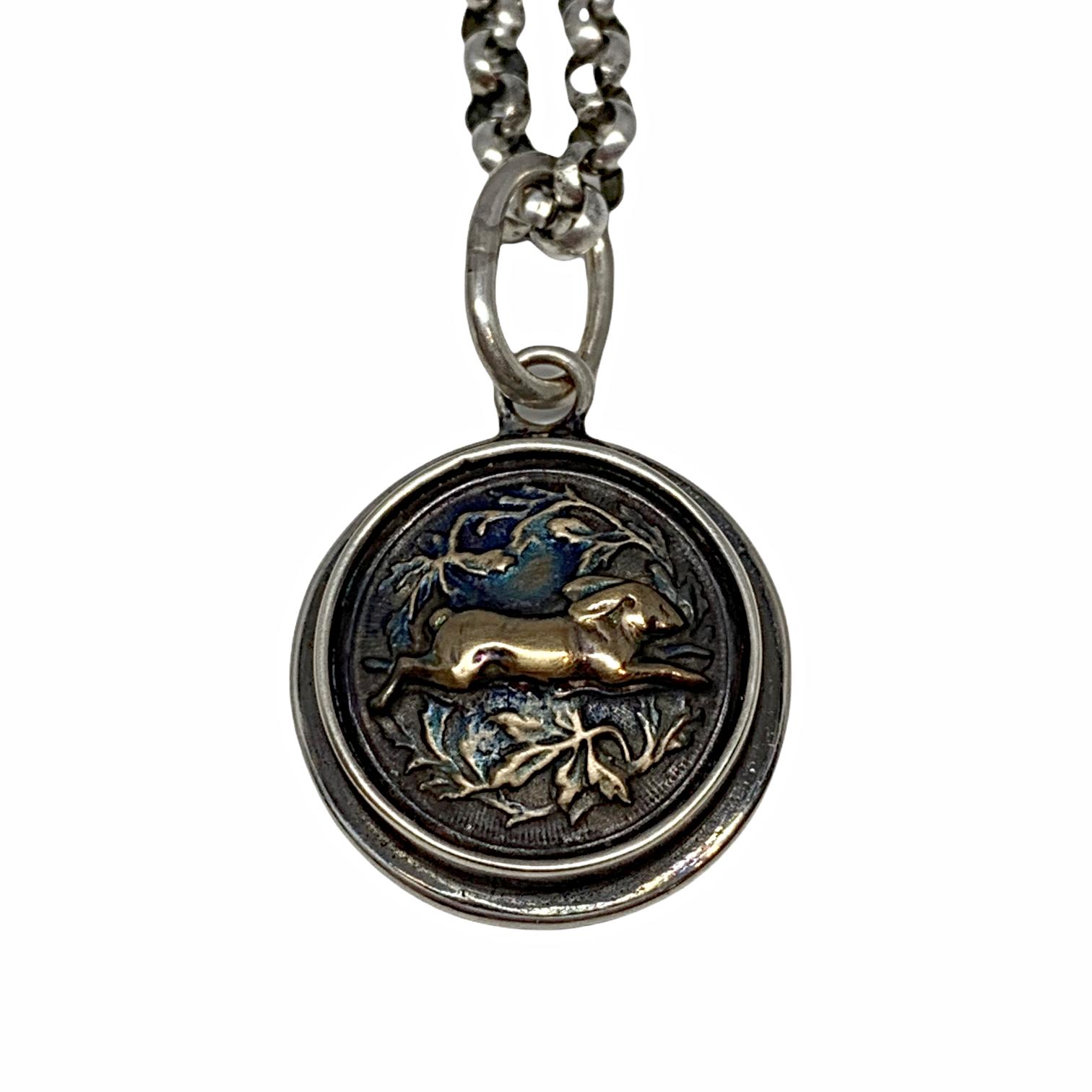Handmade bronze rabbit pendant by Karyn Chopik   Effusion Art Gallery + Cast Glass Studio, Invermere BC