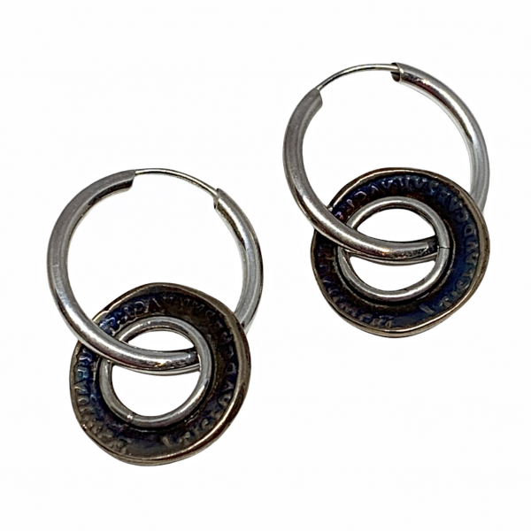 Handmade sterling silver and bronze earrings by Karyn Chopik | Effusion Art Gallery + Cast Glass Studio, Invermere BC