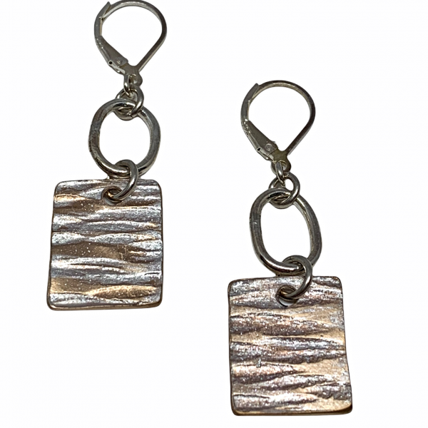 Handmade sterling silver and pearlized copper earrings by Karyn Chopik | Effusion Art Gallery + Cast Glass Studio, Invermere BC