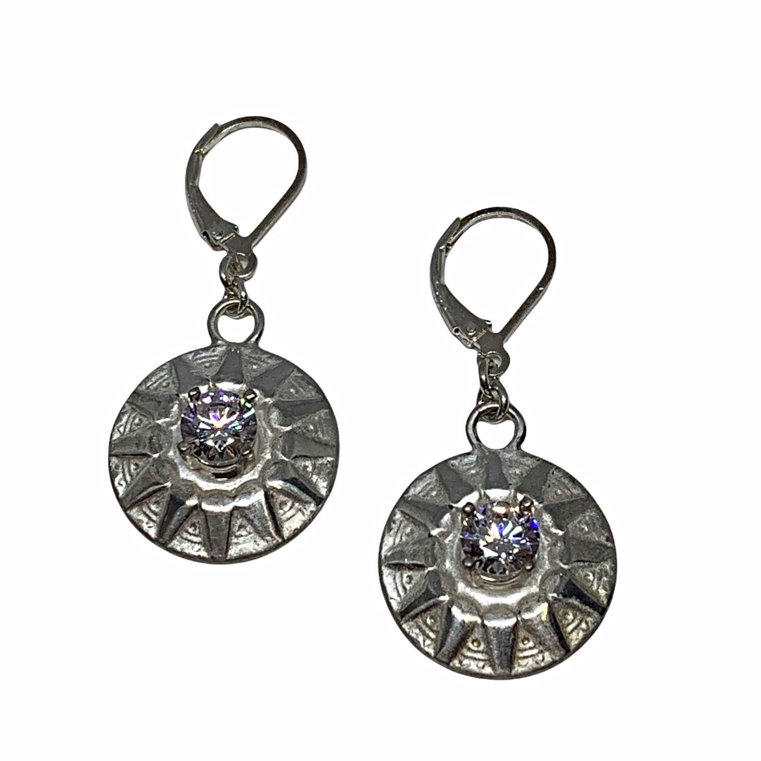 Handmade sterling and CZ earrings by Karyn Chopik | Effusion Art Gallery + Cast Glass Studio, Invermere BC