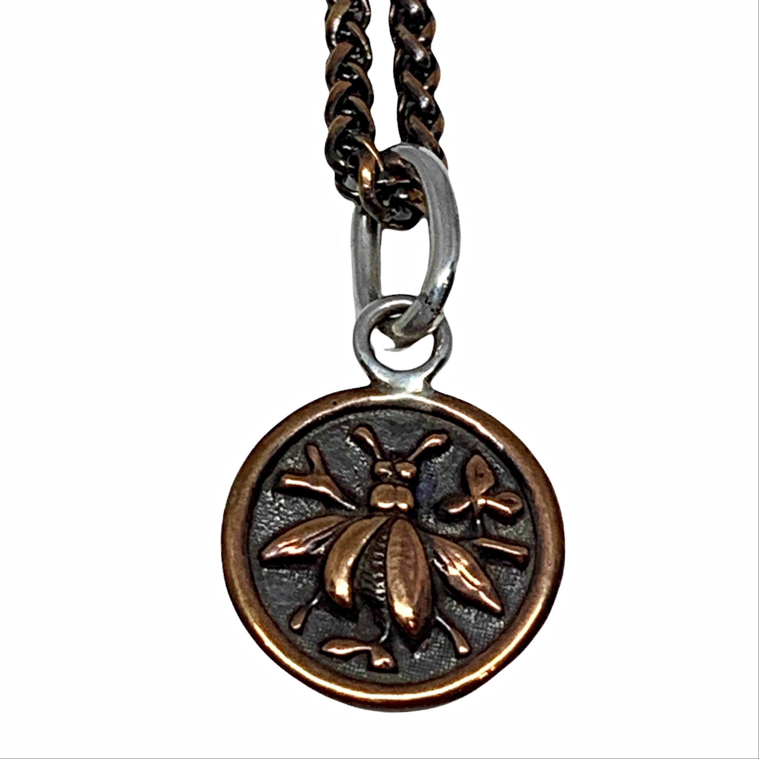 Handmade copper bee pendant by Karyn Chopik   Effusion Art Gallery + Cast Glass Studio, Invermere BC