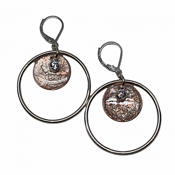 Handmade sterling silver pearlized copper, and CZ earrings by Karyn Chopik | Effusion Art Gallery + Cast Glass Studio, Invermere BC