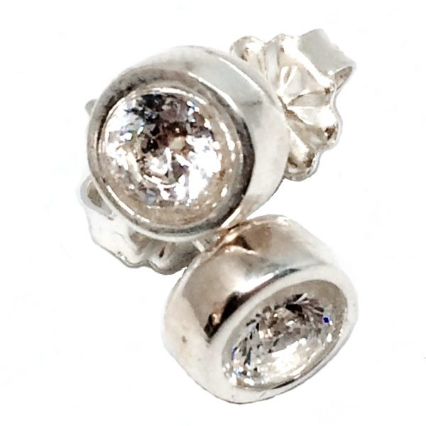 Sterling silver and CZ stud earrings by Karyn Chopik | Effusion Art Gallery + Cast Glass Studio, Invermere BC
