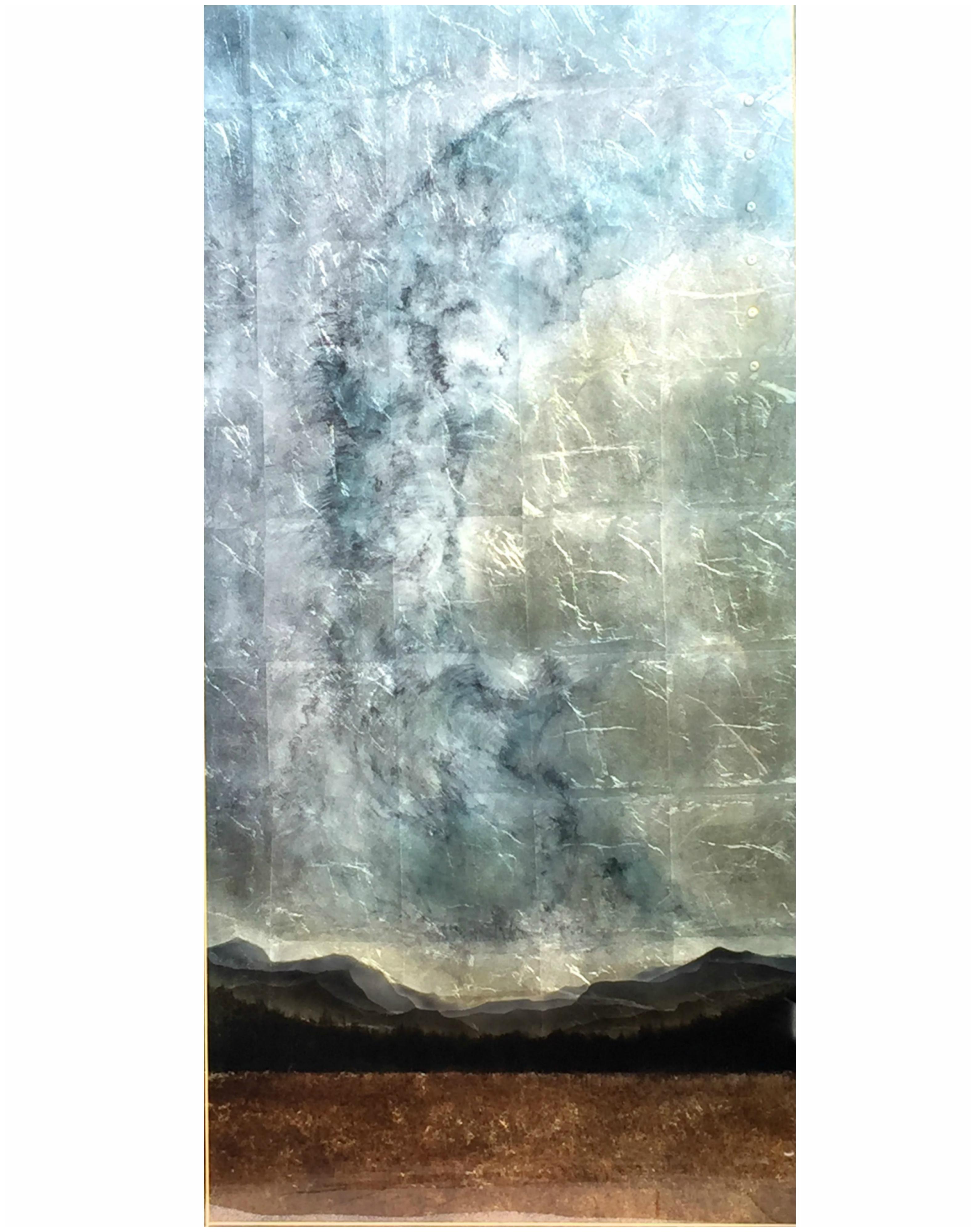 Sky Tower, mixed media landscape painting with resin by David Graff | Effusion Art Gallery + Cast Glass Studio, Invermere BC