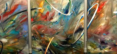 Elliptical Resonance, mixed media painting by Joel Masewich | Effusion Art Gallery + Cast Glass Studio, Invermere BC