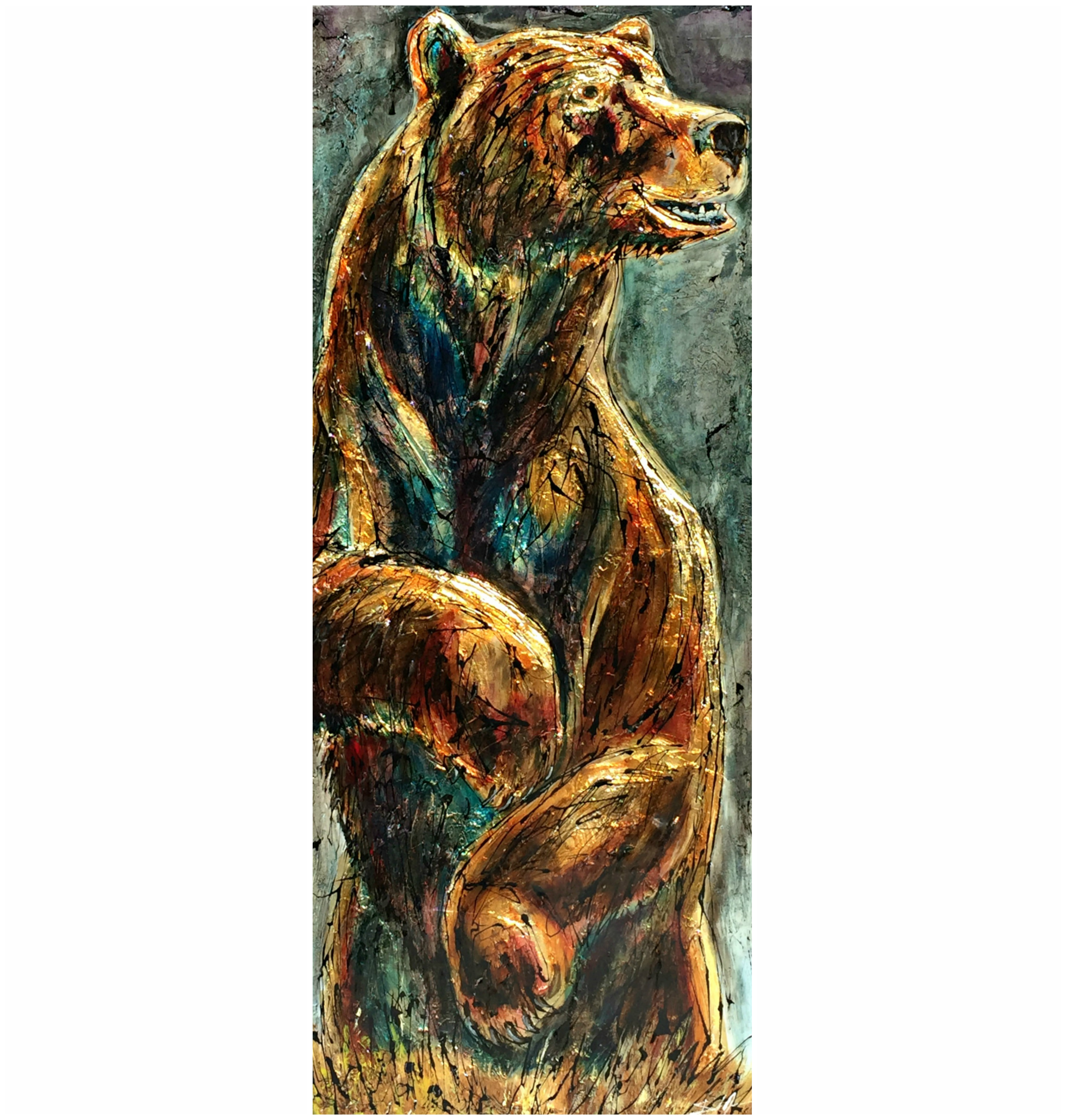 Hey!, mixed media bear painting by David Zimmerman | Effusion Art Gallery + Cast Glass Studio, Invermere BC