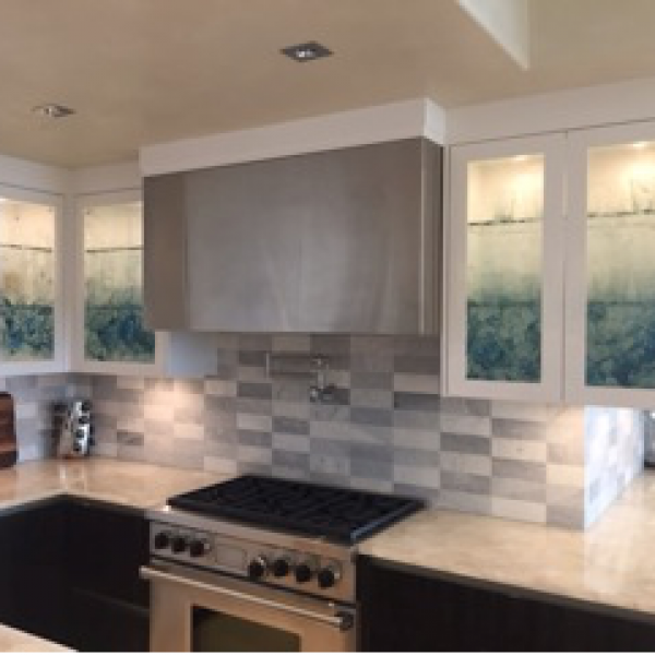 Custom cast glass kitchen cabinet panels by Heather Cuell | Effusion Art Gallery + Cast Glass Studio, Invermere BC