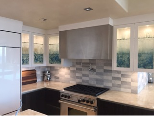 Custom cast glass kitchen cabinet panels by Heather Cuell   Effusion Art Gallery + Cast Glass Studio, Invermere BC