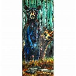 Sibling Trust, mixed media bear cub painting by David Zimmerman | Effusion Art Gallery + Cast Glass Studio, Invermere BC