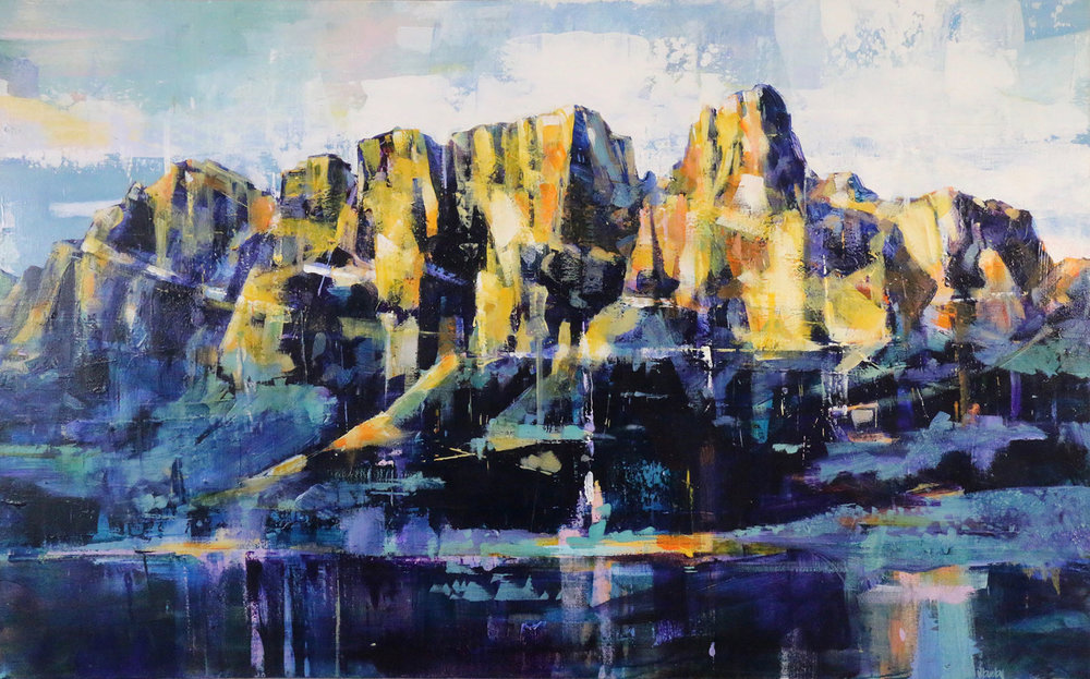 Castle Mountain, acrylic painting by Verne Busby | Effusion Art Gallery + Cast Glass Studio, Invermere BC