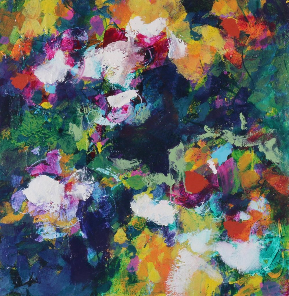 Garden Walks 6, acrylic painting by Verne Busby | Effusion Art Gallery + Cast Glass Studio, Invermere BC