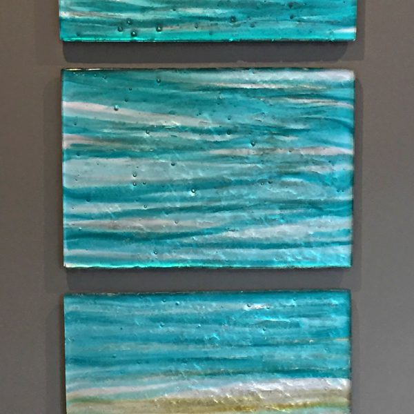 Blue Infinity, cast glass panels by Heather Cuell   Effusion Art Gallery + Cast Glass Studio, Invermere BC