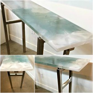 Light Reflecting Cast Glass and Polished Chrome Console Table by Heather Cuell | Effusion Art Gallery + Cast Glass Studio, Invermere BC