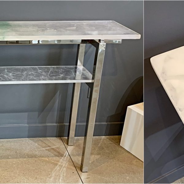 Light Reflecting, cast glass and polished nickel console table by Heather Cuell | Effusion Art Gallery + Cast Glass Studio, Invermere BC