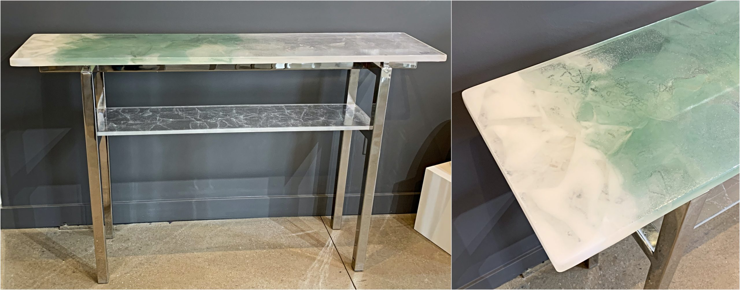 Light Reflecting, cast glass and polished nickel console table by Heather Cuell   Effusion Art Gallery + Cast Glass Studio, Invermere BC