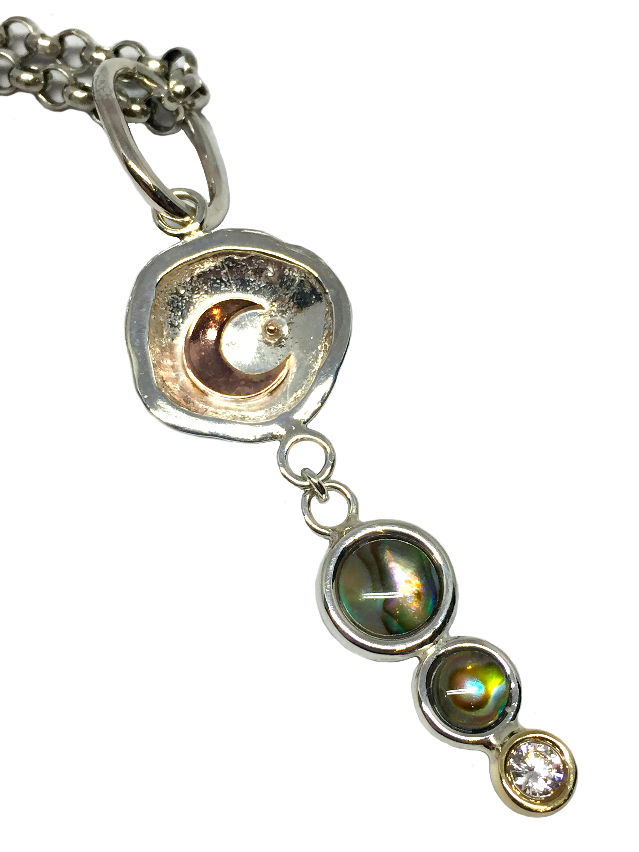 Karyn Chopik Silver, Bronze, Pink Bronze, and Abalone Pendant.  Chain not included | Effusion Art Gallery + Cast Glass Studio, Invermere BC