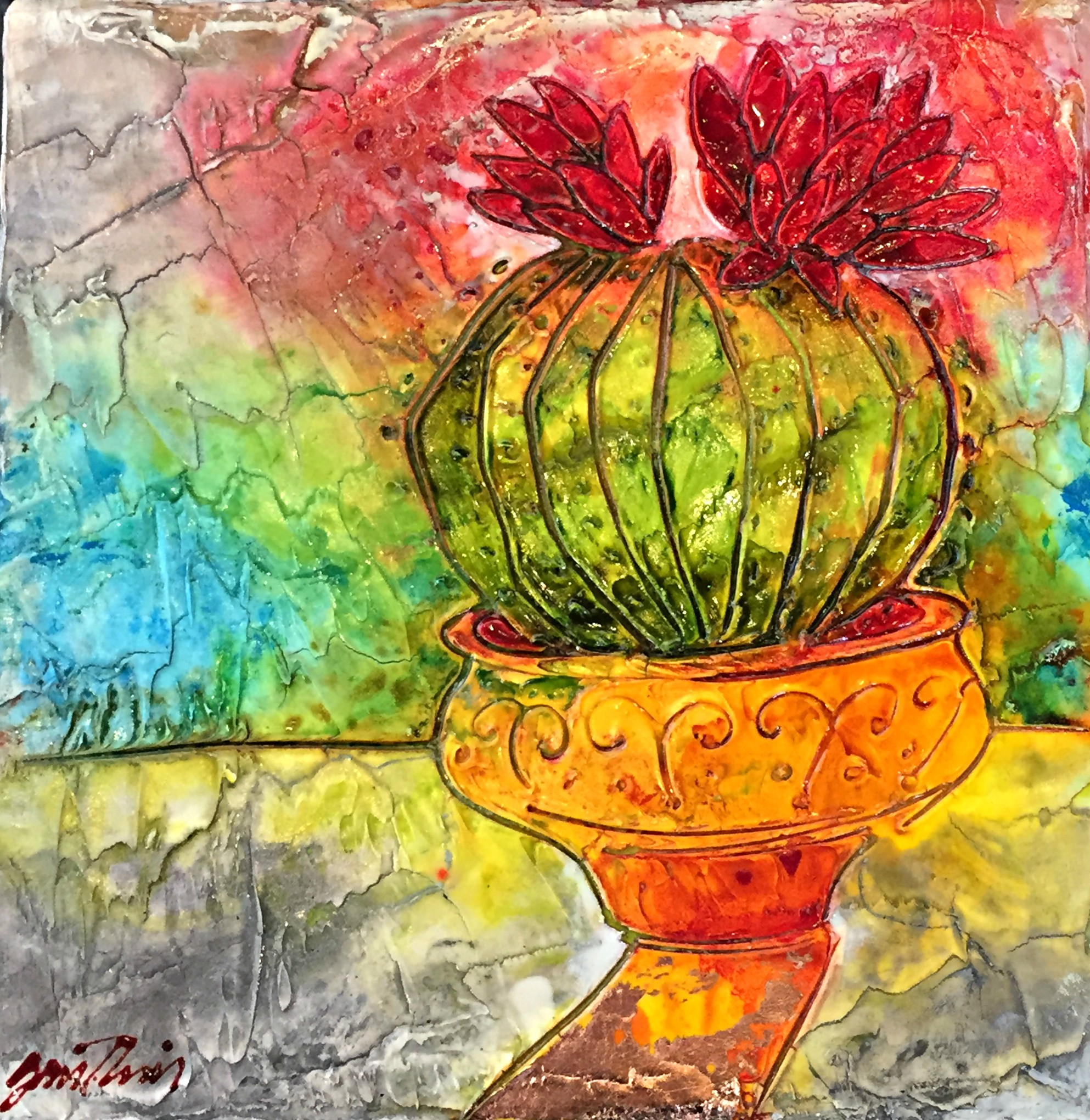 Cute Cactus, mixed media painting by Joanne Gauthier | Effusion Art Gallery + Cast Glass Studio, Invermere BC