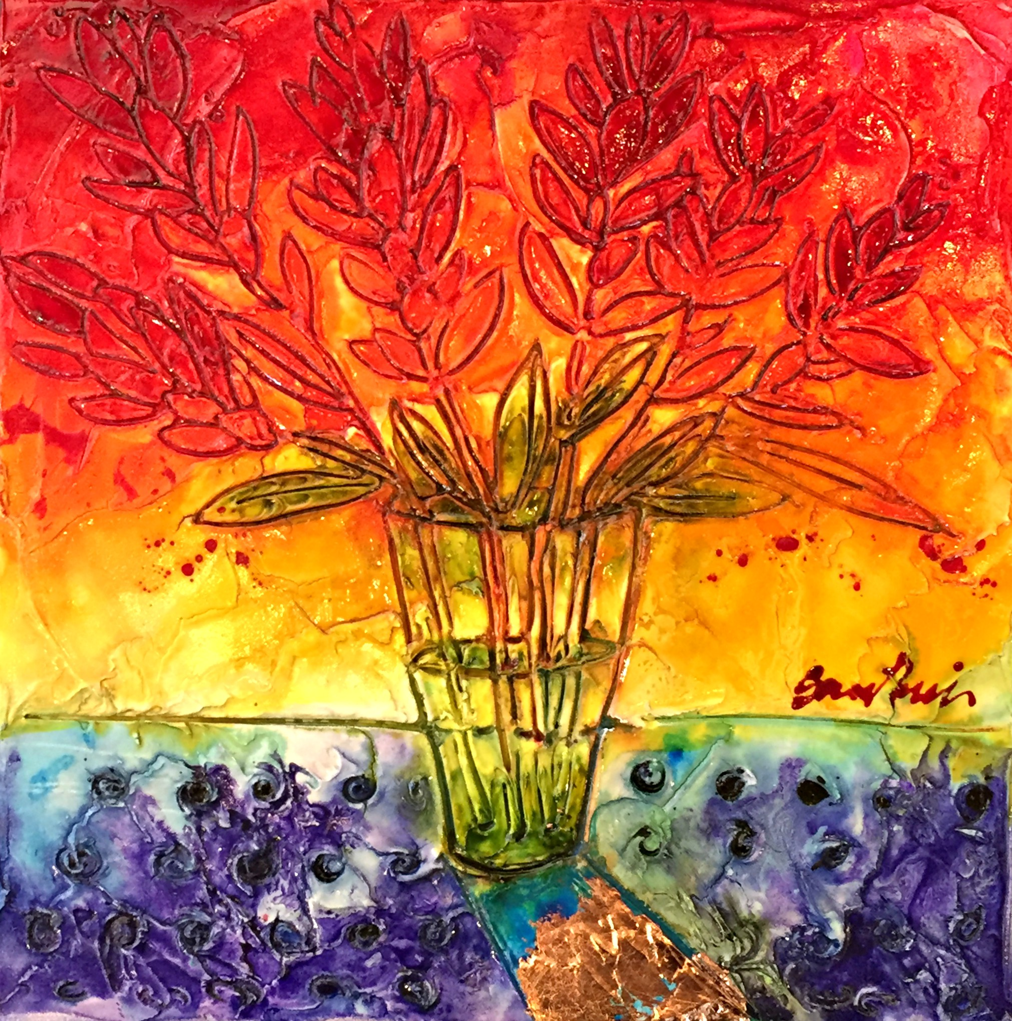 Flames in Glass, mixed media painting by Joanne Gauthier | Effusion Art Gallery + Cast Glass Studio, Invermere BC