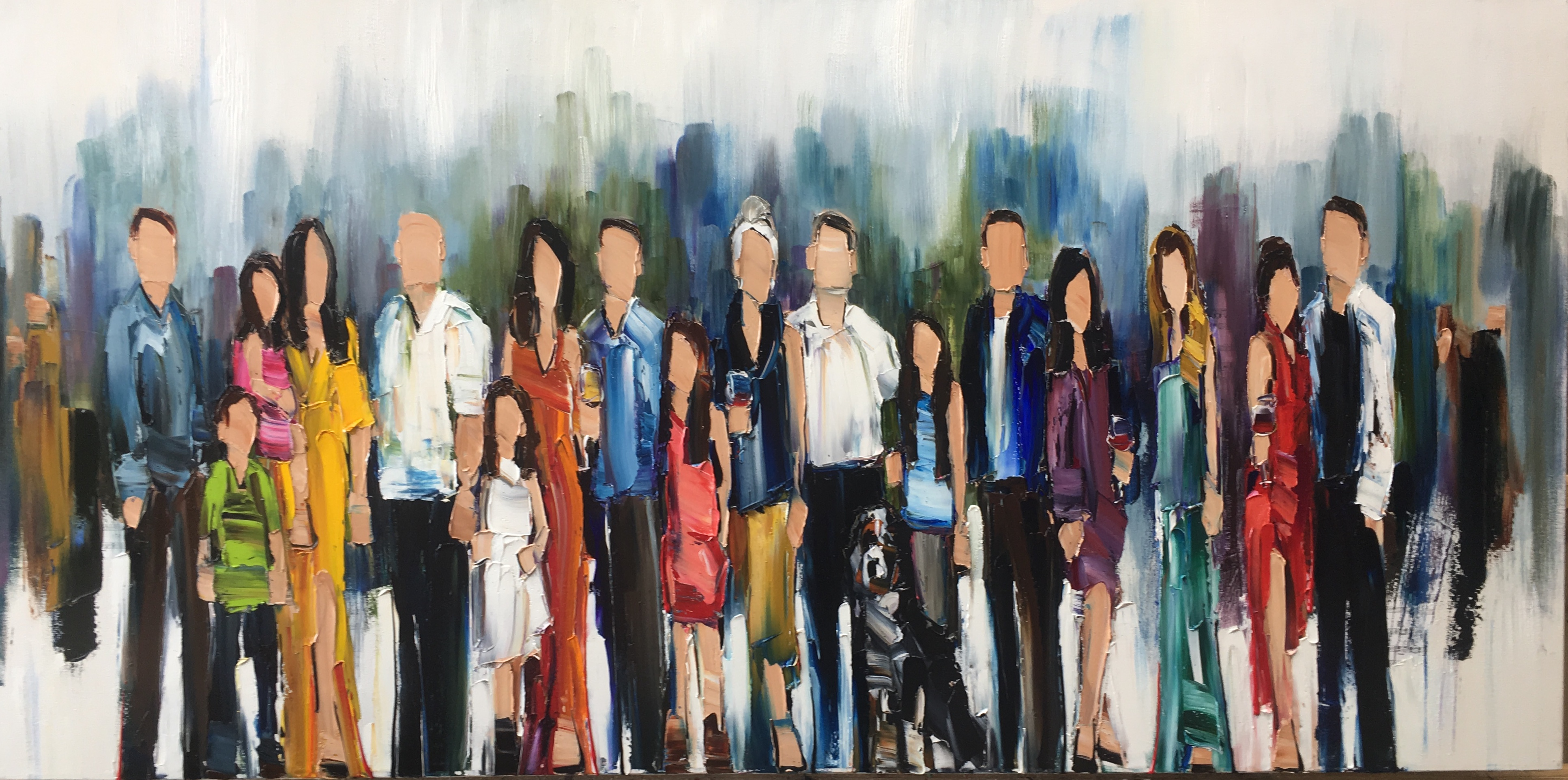 All in the Family, painting by Kimberly Kiel | Effusion Art Gallery + cast Glass Studio, Invermere BC