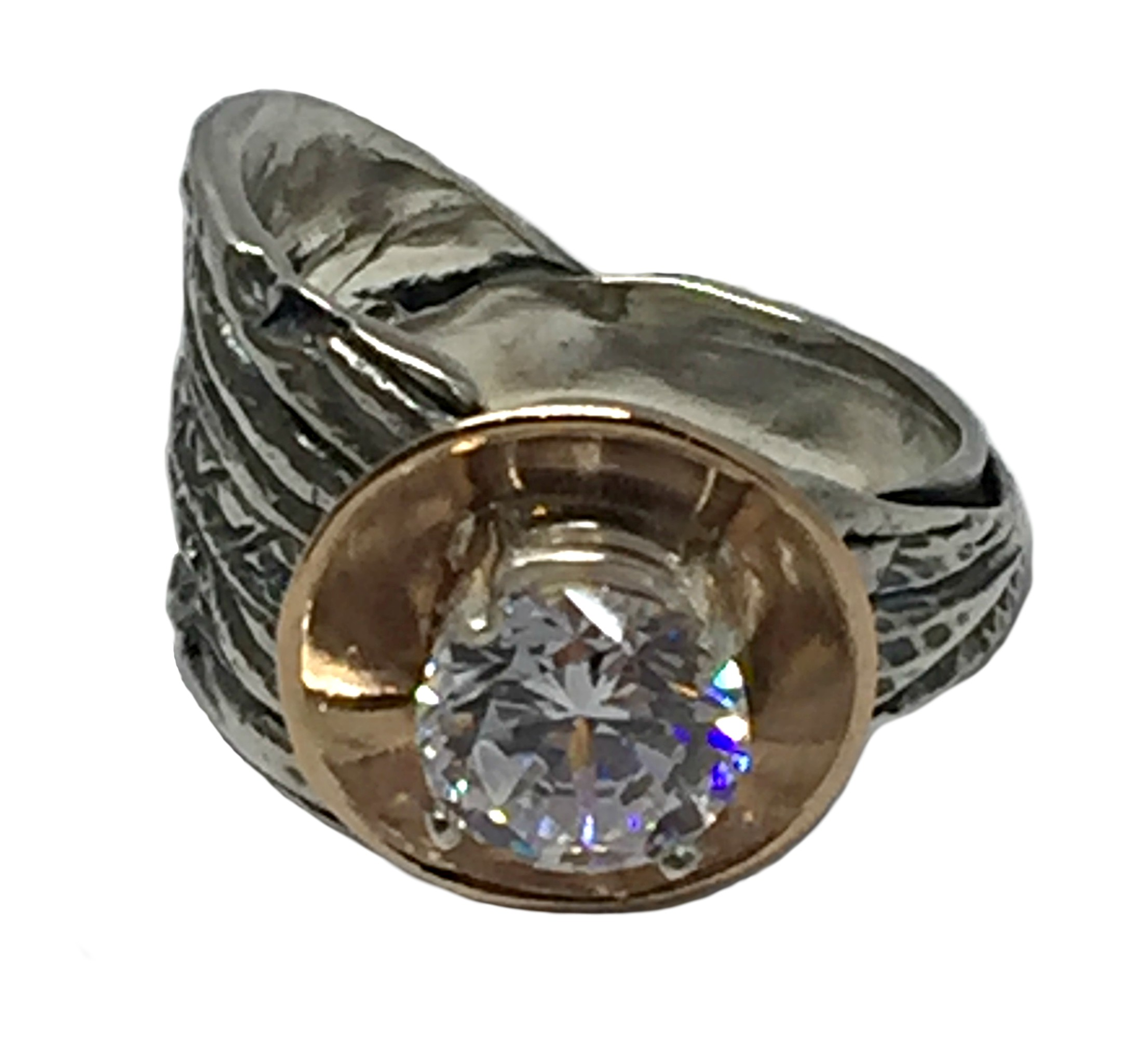Sterling Silver, Bronze, and CZ Karyn Chopik Ring | Effusion Art Gallery + Cast Glass Studio, Invermere BC