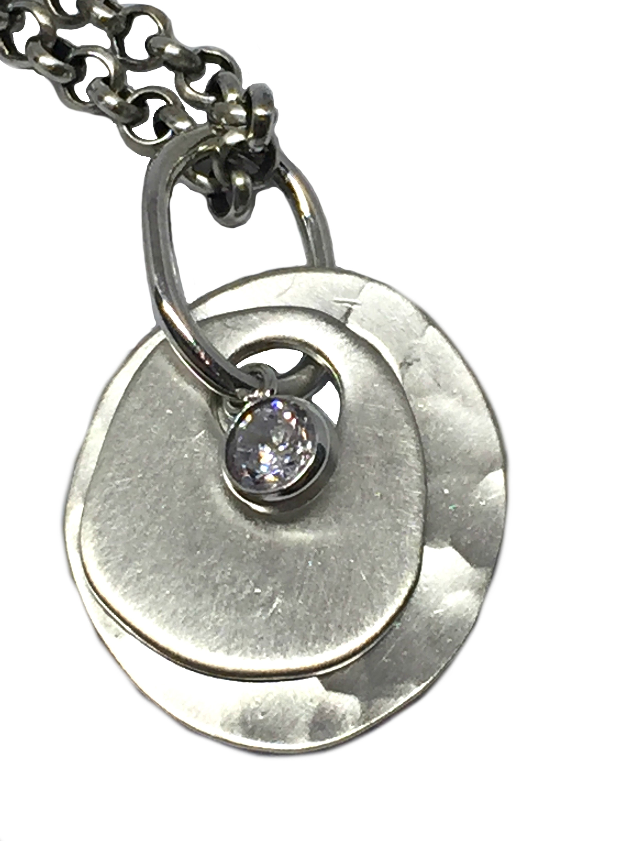 Sterling silver, and CZ pendant by Karyn Chopik | Effusion Art Gallery + Cast Glass Studio, Invermere BC