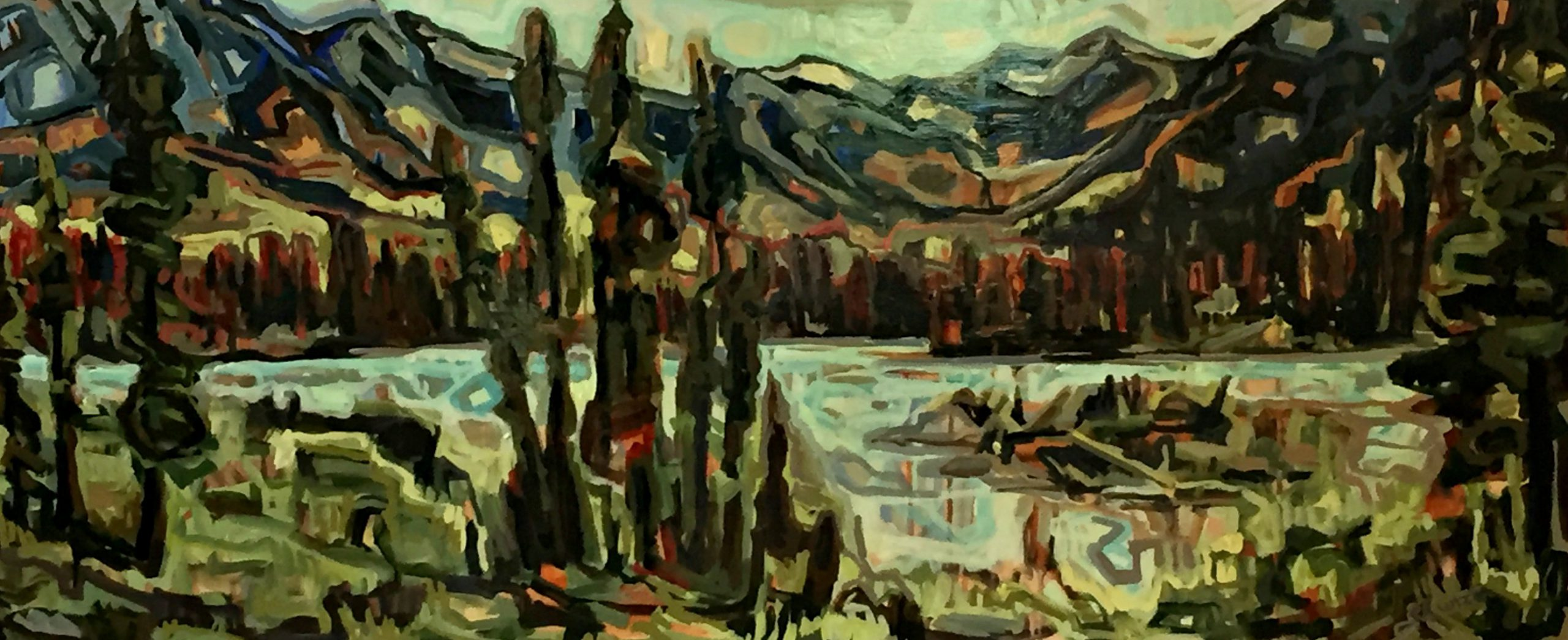 Simpson Monument, acrylic painting by Sandy Kunze   Effusion Art Gallery + Cast Glass Studio, Invermere BC