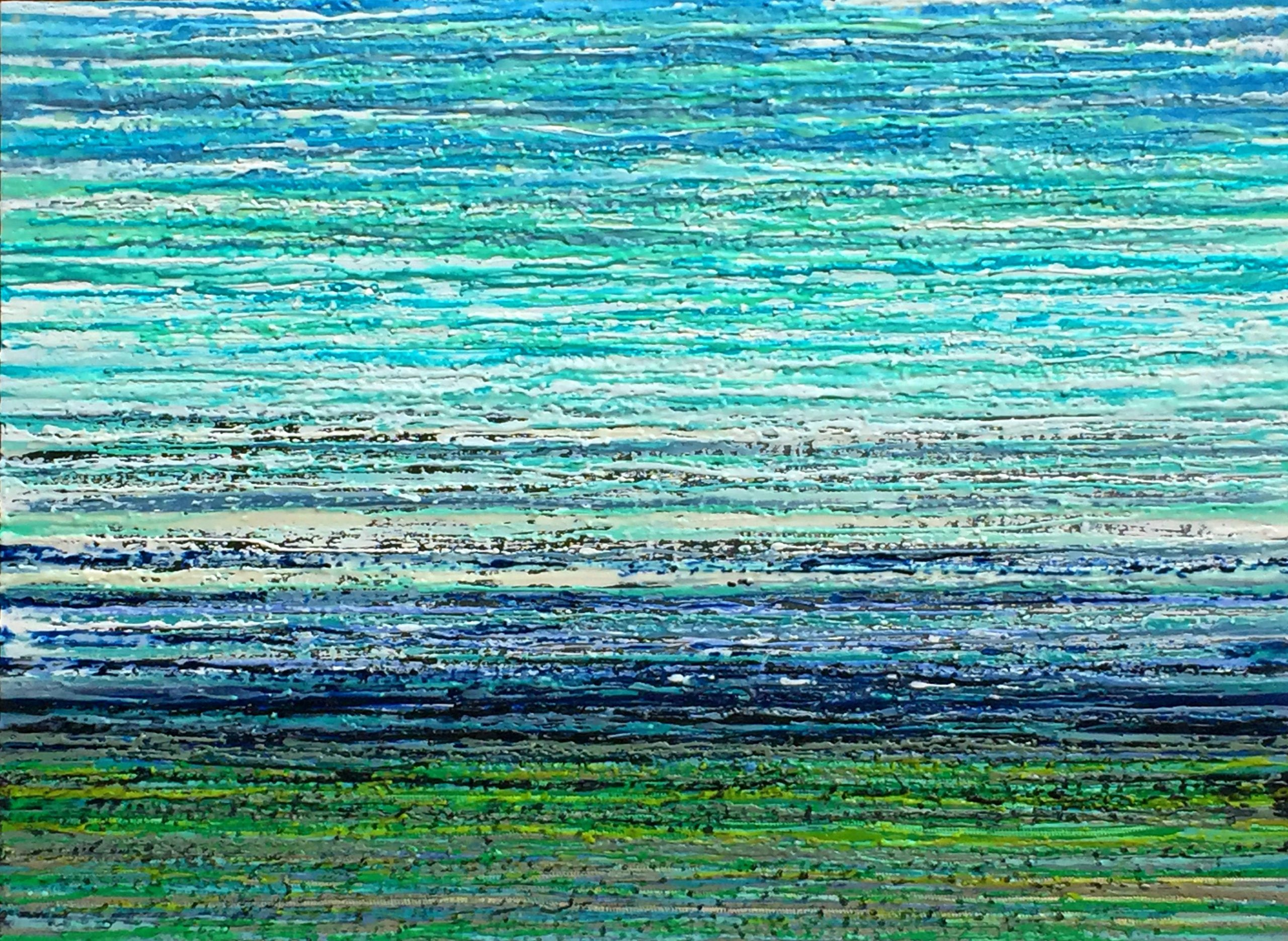 Windermere, mixed media encaustic painting by Marie-Danielle Leblanc | Effusion Art Gallery + Cast Glass Studio, Invermere BC