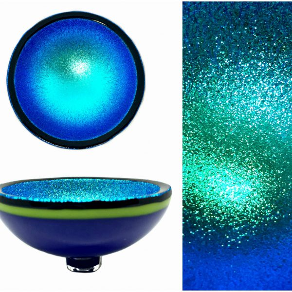 Multichrome Thing of Beauty 1251, dichroic glass bowl by Jo Ludwig   Effusion Art Gallery + Glass Studio, Invermere BC